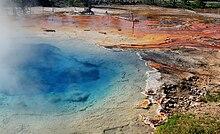 primavera blu con il vapore che sale da essa;  chiazze irregolari di residui di rosso e arancione sono le banche, insieme a tronchi d'albero morti.