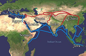 Core countries - The Silk Road extending from Southern Europe through Arabia, Somalia, Egypt, Persia, Pakistan, India, Bangladesh, Java and Vietnam until it reaches China (land routes are red, water routes are blue)