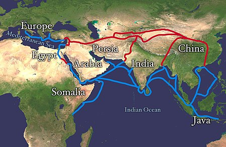 The economically important Silk Road was blocked from Europe by the Ottoman Empire in c. 1453 with the fall of the Byzantine Empire. This spurred exploration, and a new sea route around Africa was found, triggering the Age of Discovery. Silk route.jpg