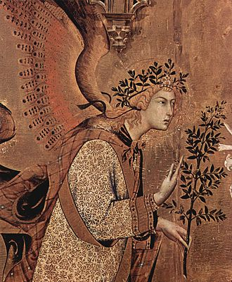Annunciation with St. Margaret and St. Ansanus - Detail of the Annunciation Angel
