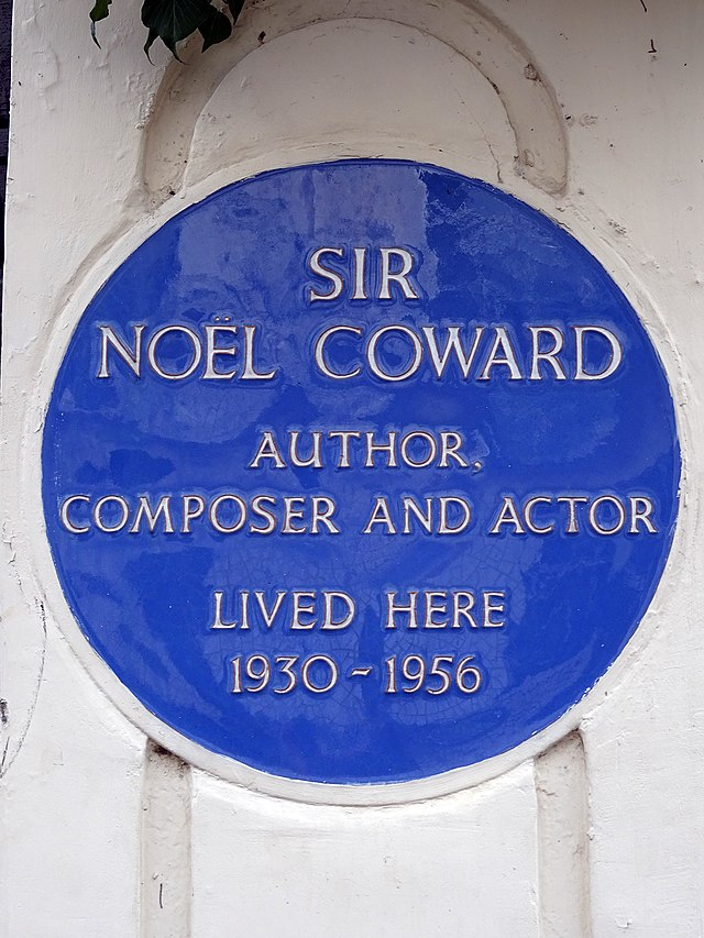 Noël Coward blue plaque - Sir Noël Coward author, composer and actor lived here 1930-1956