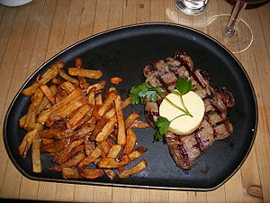 Sirloin steak - Sirloin steak, served with garlic butter and french fries
