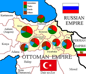 Six vilayets - Ethnic map of Six vilayets according to the Armenian Patriarchate of Constantinople in 1912.