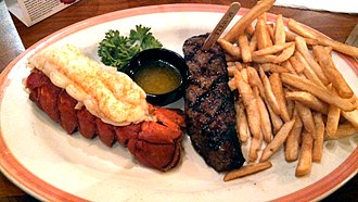 Sizzler - Steak and lobster with fries from Sizzler