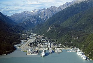 Aerial view of Skagway, Alaska.