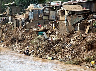 Slums in Manila - A Manila slum during Typhoon Ketsana (Ondoy)'s landfall on the Philippines 2009.