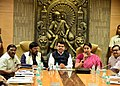 Smriti Irani addressing after handing over the possession of Indu Mill land, owned by National Textile Corporation (NTC) Limited, to the Chief Minister of Maharashtra.jpg