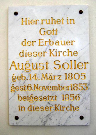 August Soller - Soller's grave inscription at Saint Michael's Church, Berlin, 1856