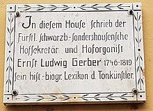 Gedenktafel in Sondershausen (Quelle: Wikimedia)