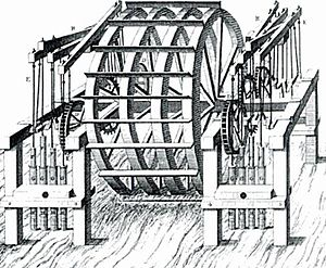 George Sorocold - Sorocold's water wheel on the River Thames