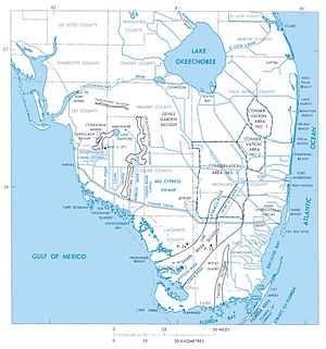 Lake Okeechobee - Shown in blue on map of South Florida