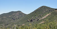 South and North Chalone Peaks from Pinnacles National Monument Chalone Peak Trail.jpg