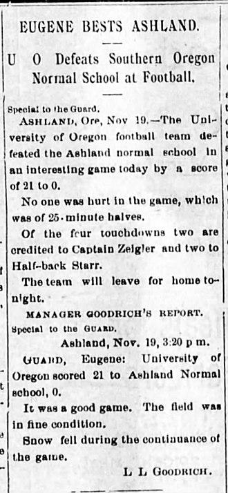 Southern Oregon Raiders football - Image: Southern Oregon Normal School vs. University of Oregon 1900