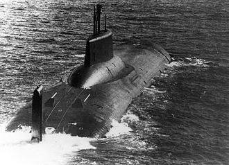 Typhoon-class submarine - A Typhoon-class submarine on the surface in 1985.