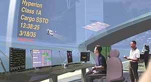 Space trade - Control room of a future commercial spaceport (concept by NASA)