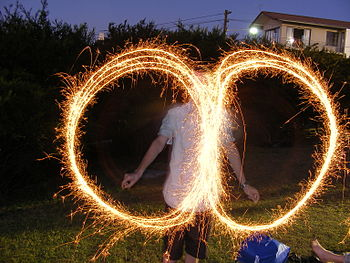 English: Sparklers with a slow shutter speed o...