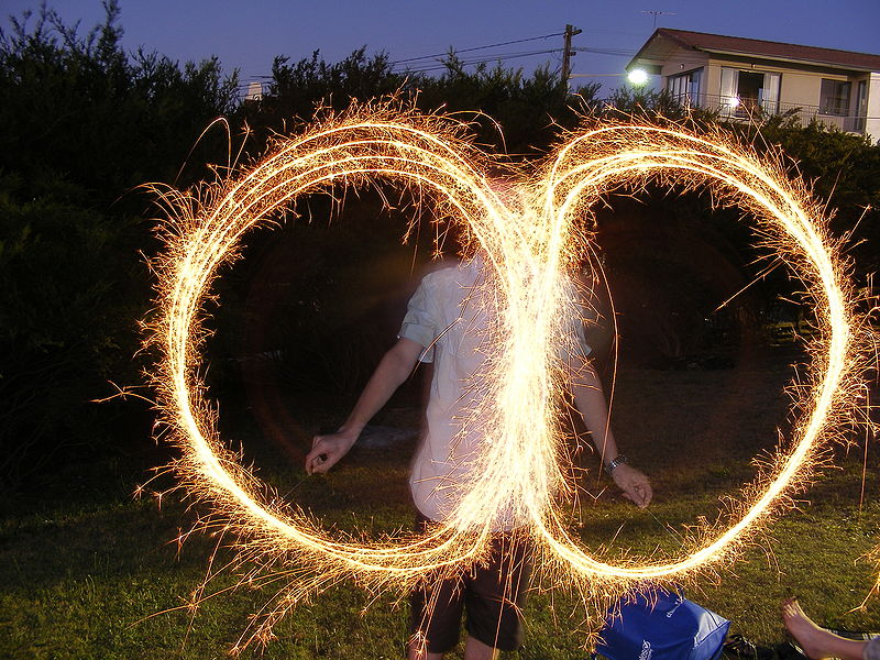 File:Sparklers with a slow shutter speed.JPG