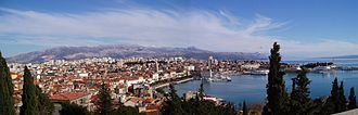 Marjan, Split - Panoramic view of Split as seen from Marjan hill.