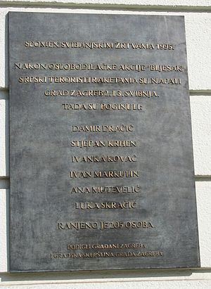 Zagreb rocket attacks - A plaque commemorating victims of the rocket attack