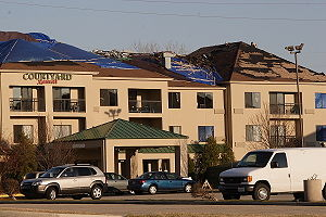 Springfield, Illinois - Hotel damaged by the 2006 Springfield tornadoes
