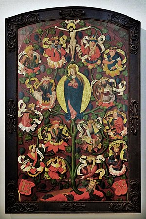 Es ist ein Ros entsprungen - The hymn evokes the symbolic use of the rose to describe Mary sprouting from the  Tree of Jesse as the Mother of God  (altarpiece, St. Lambrecht's Abbey)