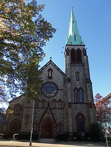 An image of the front of St. Dominic Catholic Church in Washington, D.C.