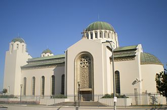 Saint Sophia Cathedral, Los Angeles - South façade of Saint Sophia Cathedral.