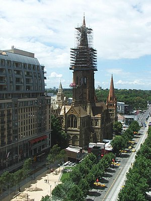 St Paul's Cathedral, Melbourne - Repair work on the spires, 2004