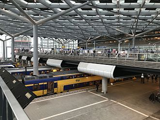 Den Haag Centraal railway station - The elevated tram station above the mainline tracks