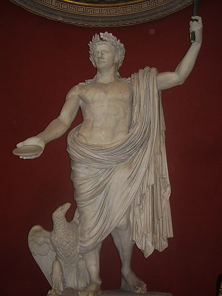 Claudius depicted as the Roman god Jupiter Statue Claudius Vatikanische Museen.jpg