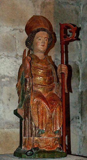 Austromoine - Wood statue of St. Austremonius, 17th century, church of Saint-Austremoine in Issoire; Auvergne, France
