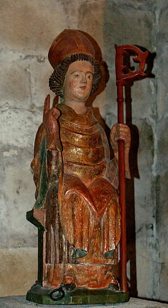 Austromoine - Wood statue of St. Austremonius, 17th century, church of Saint-Austremoine in Issoire; Auvergne, France