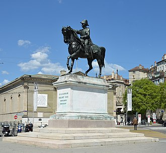 Guillaume Henri Dufour - Equestrian statue (1884) by Alfred Lanz, at Place Neuve, Geneva
