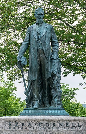 Cornell Central Campus - A statue of found Ezra Cornell by Hermon Atkins MacNeil was dedicated on the Arts Quadrangle in 1919
