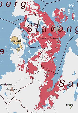 Stavanger/Sandnes - Image: Stavanger sandnes tettsted 2005