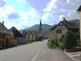 The middle of the village of Steige