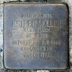 Photo of Esther Müller brass plaque