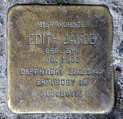 Photo of Edith Jakob brass plaque