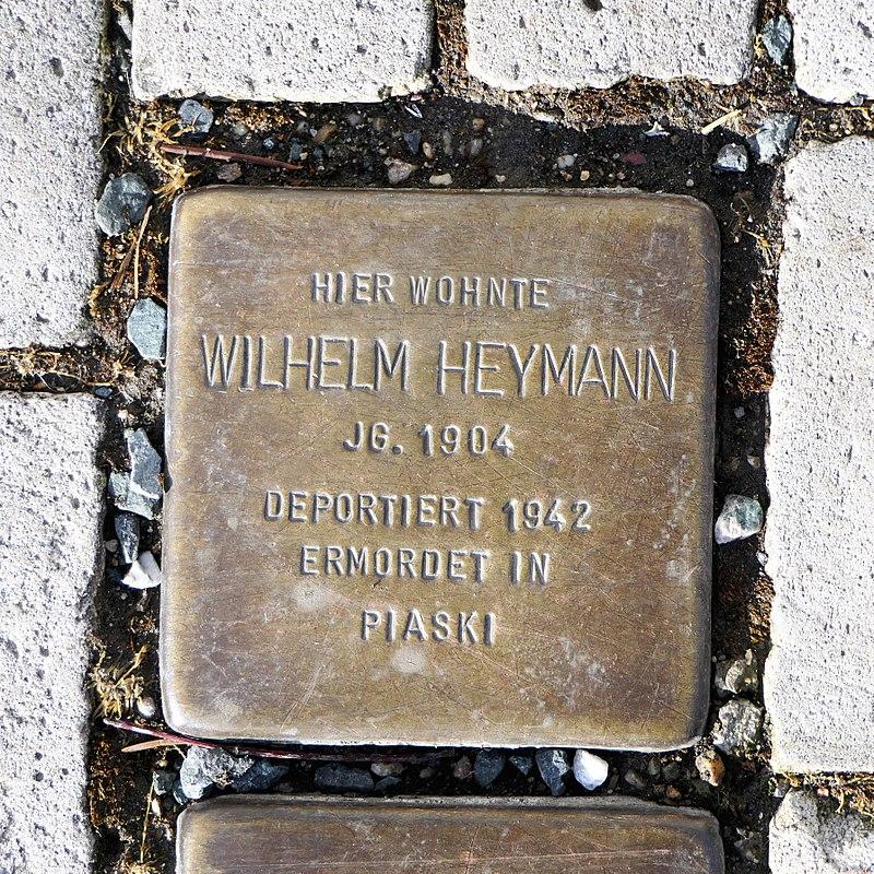 Stolperstein für Wilhelm Heymann, Heinrich-Heine-Strasse 12, Freiberg.JPG