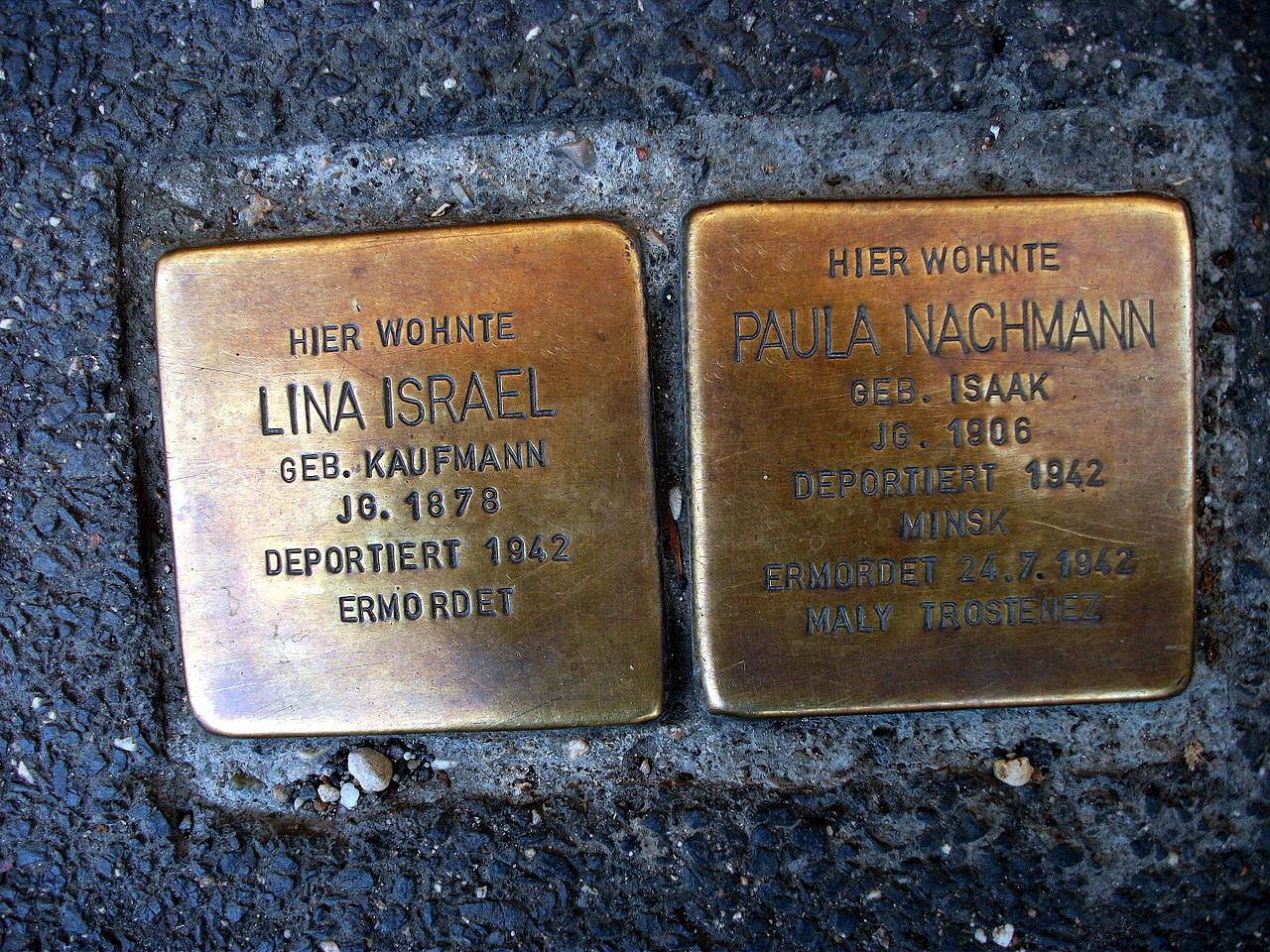 Stolpersteins Lina Israel Paula Nachmann Friesdorfer Straße 92 Bonn.JPG