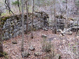 Old Stone Fort (Tennessee) - The ruins of the Stone Fort Paper Mill near Big Falls at the Old Stone Fort's northwestern section