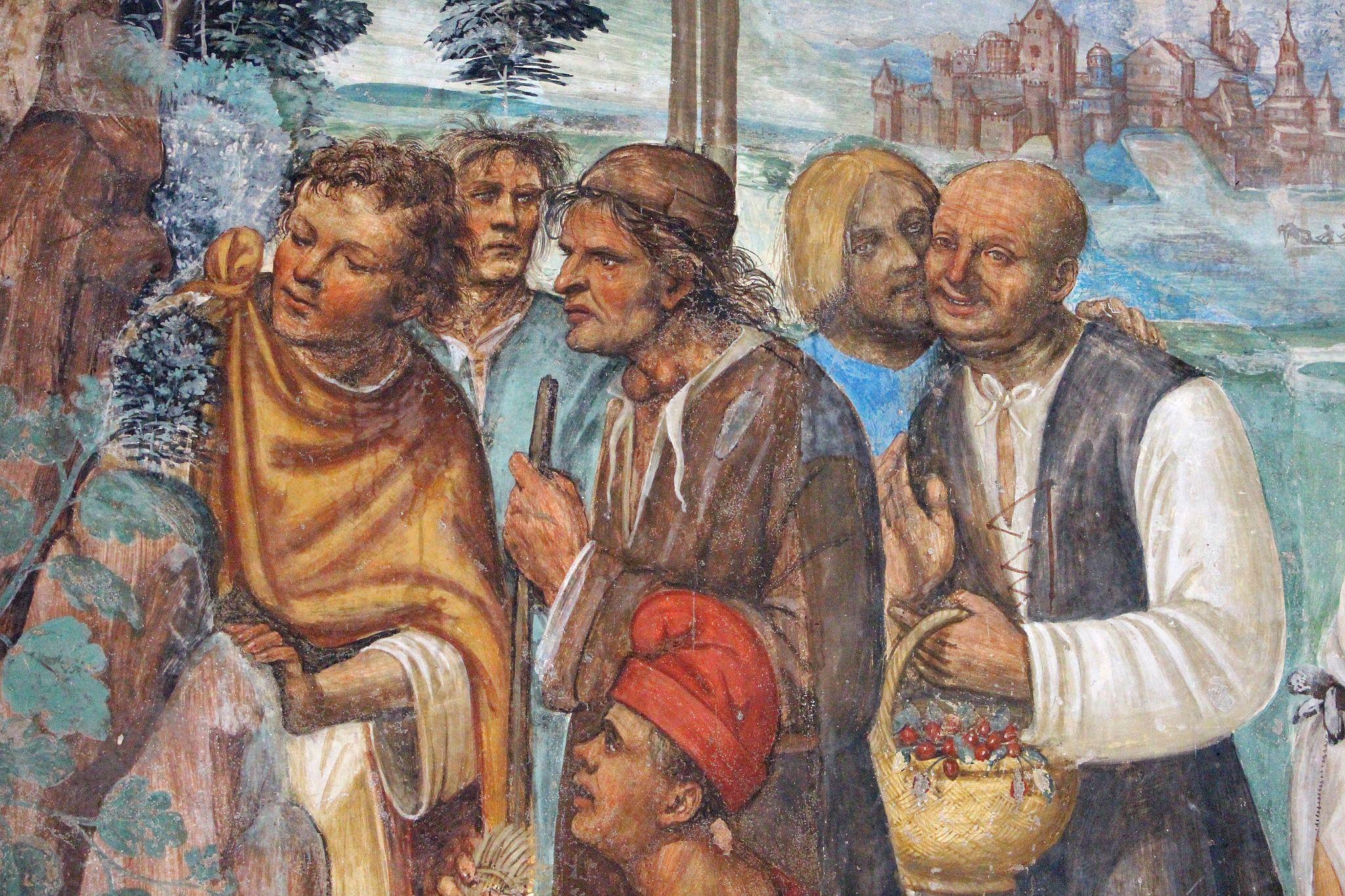 Storie di s. benedetto, 07 sodoma - Come Benedetto ammaestra nella santa dottrina i contadini che lo visitavano 03