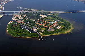 Dänholm - Dänholm island with the bridge connecting the city of Stralsund and the island of Rügen