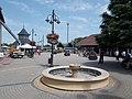 Street clock and Zsolnay fountain in Fonyód, 2016 Hungary.jpg