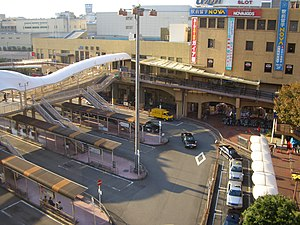 Suita Station (JR West) - Station building and bus stops