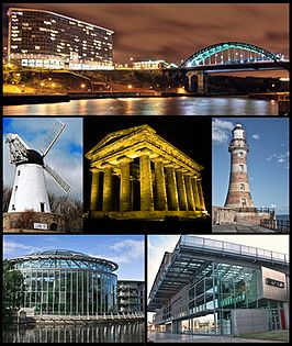 Sunderland. V.l.n.r.: Echo 24 met de Wearmouth Bridge, de Fulwell Mill, het Penshaw Monument, de Roker Lighthouse, het Sunderland Museum en de Winter Gardens, en het National Glass Centre.
