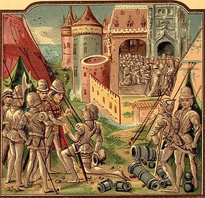 Louis I, Duke of Orléans - Louis in the camp in front; in the background, Sigismund marries Mary