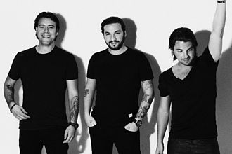 Steve Angello - Angello (centre) with Swedish House Mafia during their Until Now photoshoot in 2012