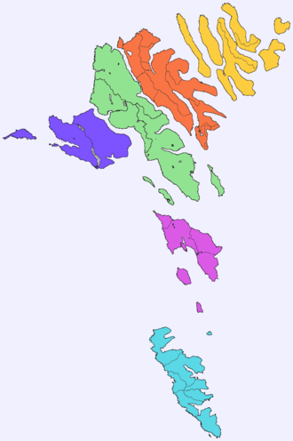 Norðoyar -  Northern Isles shown in yellow.