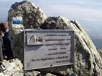 Kriváň (peak) - A summit plaque in memory of the 1841 ascent A blue-colored trail mark used in the Tatras